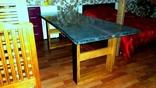 Великий авторський стіл з массива дуба з епоксидною смолою та люмінофором