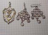 Серьги серебро 875 и кулон