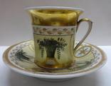 Чайная пара чашка с блюдцем фарфор завода Попова