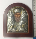 Икона Николай Чудотворец.Икона с серебром и позолотой.Silver Axion ПОВТОРНО