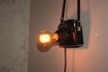 Авторский винтажный светильник фотоаппарат Зенит лампа Эдисона