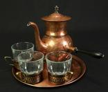 Медный кофейный сервиз. 3 персоны. Винтаж. Европа. (0680)