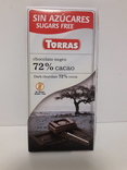 Шоколад без сахара Torras negro черный 72% какао Испания 75г