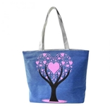 Женская сумка, холст. Дерево. Синий.