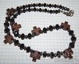 Бусы черные с крестиками, фото №5