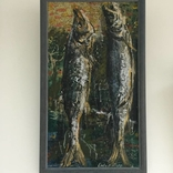 "Картина ""Натюрморт с рыбами"" художника Н. Сухиташвили 1991 года."