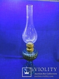 Старинная керосиновая лампа из синего толстого стекла . Франция., фото №2