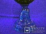 Старинная керосиновая лампа из синего толстого стекла . Франция., фото №6