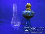Старинная керосиновая лампа из синего толстого стекла . Франция., фото №7