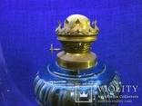 Старинная керосиновая лампа из синего толстого стекла . Франция., фото №8