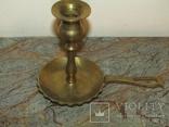 Оригинальный старинный подсвечник с держателем для переноса латунь Европа photo 2