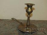 Оригинальный старинный подсвечник с держателем для переноса латунь Европа photo 3