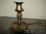 Оригинальный старинный подсвечник с держателем для переноса латунь Европа photo 4