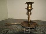 Оригинальный старинный подсвечник с держателем для переноса латунь Европа photo 5