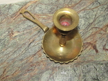 Оригинальный старинный подсвечник с держателем для переноса латунь Европа photo 6