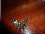 Ожерелье с натуральными хромдиопсидами,изумрудами и цветными сапфирами, фото №3