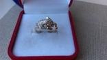 """Кольцо """"Пантера"""" золото 585, вставки цирконы."""