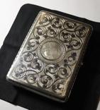 Портсигар серебро 84 чернение позолота photo 3