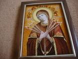 Богородица Семистрельная икона из янтаря, фото №3