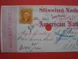 США чек 1866 год на 104,45$ + марка photo 1