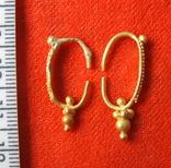 Парні золоті не описані сережки 900 проба photo 7