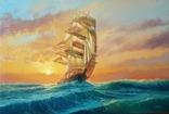 """""""Море. Вітрильник"""". Полотно, олія. 40х60 см. Ляцевич С. 2017год"""