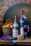 "Натюрморт маслом ""Вино и сдоба"""
