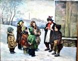"Картина жанровая "" Дети зимой "" , размер 80 - -100 см photo 1"