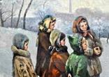 "Картина жанровая "" Дети зимой "" , размер 80 - -100 см photo 3"