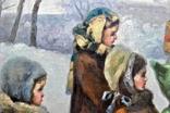 "Картина жанровая "" Дети зимой "" , размер 80 - -100 см photo 6"