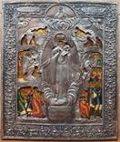 """Икона Богоматери """"Всех скорбящих радость"""", Палех, 31х26 см, серебро 84"""