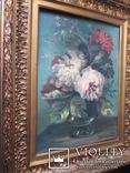 Довоенная картина Пионы. авторская. 58 см.Х48 см. рама Италия.