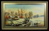 Пейзаж. Масло. Подпись автора. 1987 год. Европа. (0764)