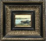 """Старинная картина """"Лодочка"""" в раме, фото №2"""