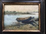 """Старинная картина """"Лодочка"""" в раме, фото №3"""