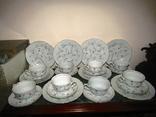 Сервиз антикварный 24 предмета чашки блюдца тарелки клеймо VEB Triptis Германия 1949-1960