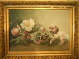 """Натюрморт """"цветы"""" 19в. художник Е .Д..."""