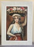 """Картина маслом""""девушка с корзиной цветов"""""""