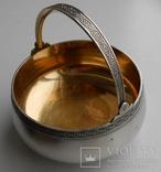 Сахарница серебро позолота 206 грамм 875 проба