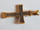 Крестик серебро 925 проба. Позолота., фото №9