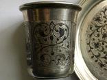 Стопка и блюдце 84 пр. 1858 г. чернь photo 9