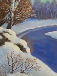 832. Подписная 1998, зимний пейзаж, картон, масло. 23х20,7 см. photo 9