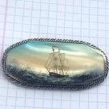 Брошка в срібном окладі,ручна роспись photo 1