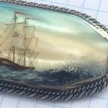 Брошка в срібном окладі,ручна роспись photo 3