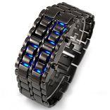 Часы IRON SAMURAI металлический браслет. Синий LED