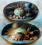"Картинки на срезе дерева ""Обед вегетарианца"" photo 1"