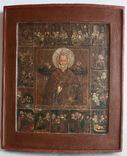 Икона Николай Чудотворец с житием двойной ковчег аналой