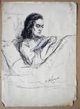 """1950-е Одесса """"Жена"""" В.Островерхий,42,5х30см, фото №2"""