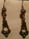 Серебряные серьги с бирюзой