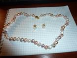 Серьги и ожерелье из натурального жемчуга с золотыми застежками, фото №2